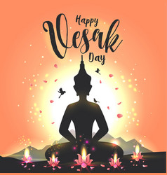 greeting card for vesak day vector image