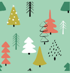 grunge winter forest seamless pattern vector image