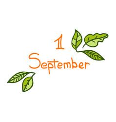 Hand-drawn cute lettering for 1 september vector