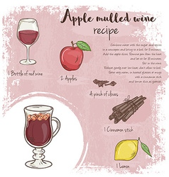 Hand drawn of mulled apple wine recipe with list vector