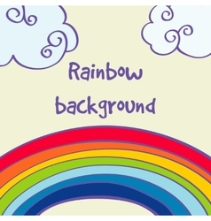hand drawn rainbow and clouds good weather vector image