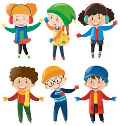 Happy children in winter clothes vector