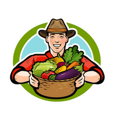 happy farmer holding a wicker basket full of fresh vector image