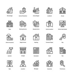 Icons pack real estate vector