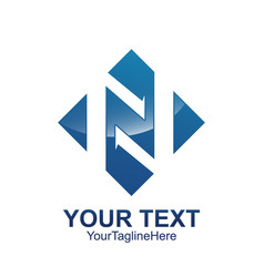 initial letter n logo template colored blue vector image