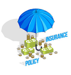 Insurance policy concept umbrella with cash money vector
