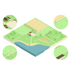 isometric farm vector image