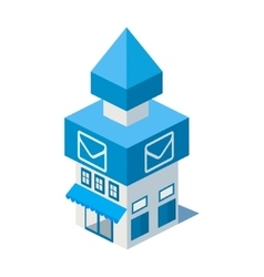 Isometric post office building icon vector
