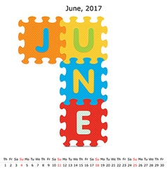 June 2017 puzzle calendar vector