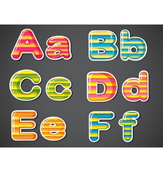 Letters in stripe colors vector