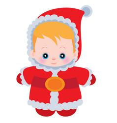 little cute badressed in santa claus costume vector image