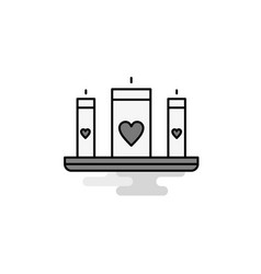 love candles web icon flat line filled gray icon vector image