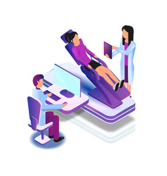 Lying patient chair medical examination by doctor vector