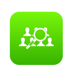 Magnifying glass searching icon digital green vector
