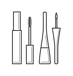 mascara and lipstick icon vector image