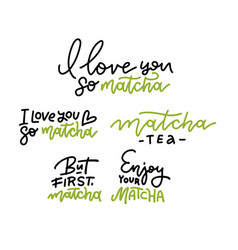 matcha tea text collection hand drawn linear vector image
