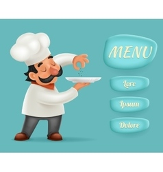Menu Buttons Interface Chef Cook Serving Food 3d vector image