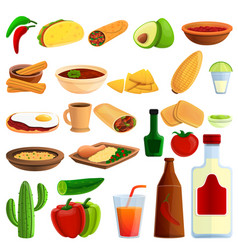 mexican food icons set cartoon style vector image