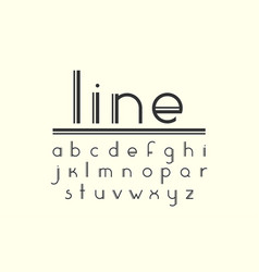 Modern double line display font and alphabet vector