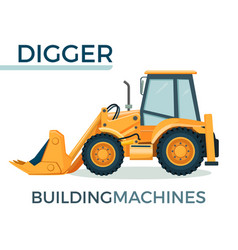 modern solid building machine digger with spacious vector image