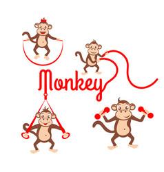 Monkey fitness logo vector