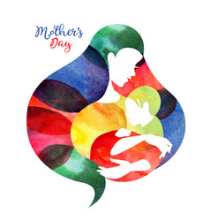 mother silhouette with her bacard happy vector image