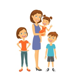 Mother with kids happy family with children vector