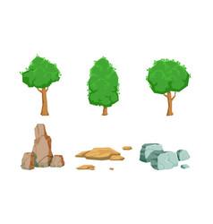 nature landscape elements set summer trees and vector image