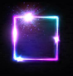 neon light frame shining square banner vector image