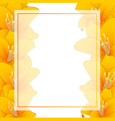 Orange lily banner card border vector