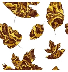 pattern with the image of the leaves with a golden vector image