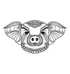 pig zodiac line art hand drawn and animal concept vector image