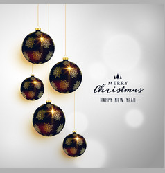 premium christmas hanging balls greeting card vector image