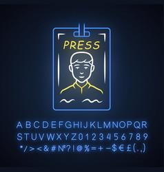 press pass neon light icon journalist reporter id vector image