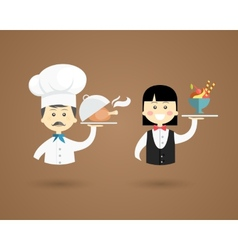 Profession character icons of a chef and waiter vector