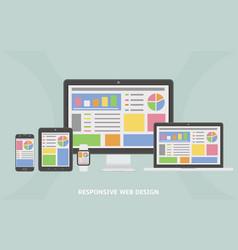Responsive web design flat web design vector