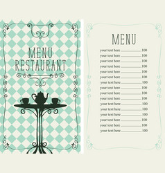 Restaurant menu with price list and served table vector