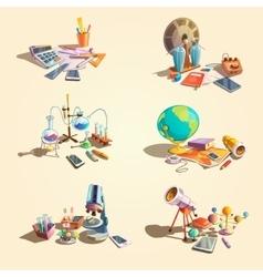 Science retro cartoon set vector