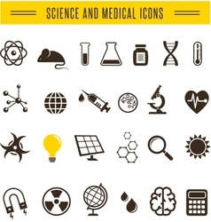 Scientist pack - Research Bio and chemistry icons vector