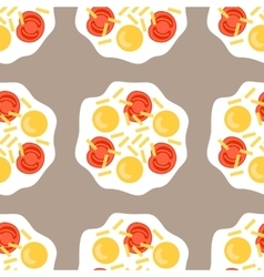 Scrambled eggs Seamless pattern with fried eggs vector
