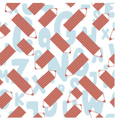 Seamless pattern with cute cartoon pencils and vector