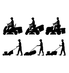 Set man with lawnmower vector