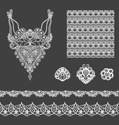 Set of decorative lace elements vector
