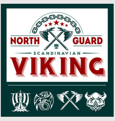 Set of viking emblems labels and logos vector