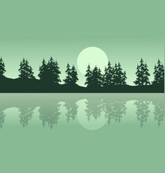 silhouette of lake with spruce scenery vector image