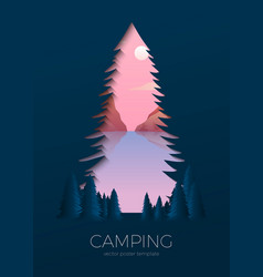 Silhouette summer camp poster with lake vector