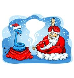 Snake charmer Santa vector image