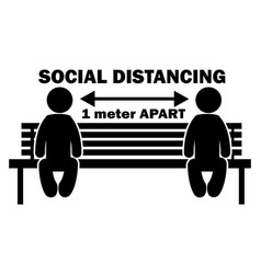 Social distancing 1 meter apart stick figure on vector