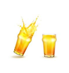 Splashing orange juice with drops in glass vector