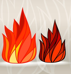 Stained glass style fire set vector